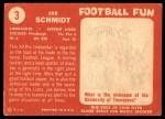 1958 Topps #3  Joe Schmidt  Back Thumbnail