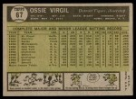 1961 Topps #67  Ossie Virgil  Back Thumbnail