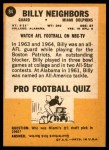 1967 Topps #84  Billy Neighbors  Back Thumbnail