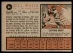 1962 Topps #14  Bill White  Back Thumbnail
