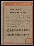 1972 Topps #6   Playoff Game 5 Back Thumbnail