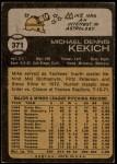1973 Topps #371  Mike Kekich  Back Thumbnail