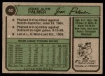 1974 Topps #40  Jim Palmer  Back Thumbnail