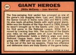 1969 Topps #572   -  Juan Marichal / Willie McCovey Giants Heroes   Back Thumbnail