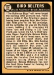 1968 Topps #530   -  Frank Robinson / Brooks Robinson Bird Belters Back Thumbnail