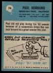 1964 Philadelphia #74  Paul Hornung   Back Thumbnail