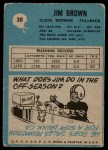 1964 Philadelphia #30  Jim Brown   Back Thumbnail