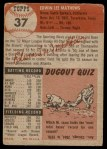 1953 Topps #37  Eddie Mathews  Back Thumbnail