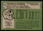 1978 Topps #500  Franco Harris  Back Thumbnail