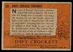 1956 Topps Davy Crockett #28 ORG  -    Davy Senses Trouble  Back Thumbnail
