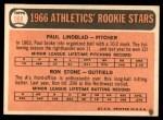 1966 Topps #568   -  Paul Lindblad / Ron Stone Athletics Rookies Back Thumbnail