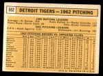 1963 Topps #552   Tigers Team Back Thumbnail