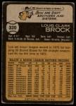 1973 Topps #320  Lou Brock  Back Thumbnail