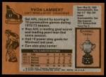 1975 Topps #17  Yvon Lambert   Back Thumbnail