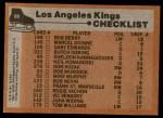 1975 Topps #86   Kings Team Checklist Back Thumbnail