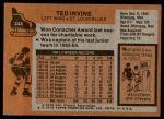 1975 Topps #244  Ted Irvine  Back Thumbnail