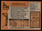 1975 Topps #256  Peter McDuffe   Back Thumbnail