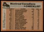 1975 Topps #90   Canadiens Team Checklist Back Thumbnail
