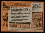 1975 Topps #137  Larry Patey   Back Thumbnail