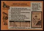 1975 Topps #197  Dean Talafous   Back Thumbnail
