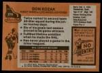 1975 Topps #276  Don Kozak   Back Thumbnail