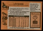 1975 Topps #143  Lou Nanne   Back Thumbnail