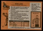 1975 Topps #25  Ron Low   Back Thumbnail