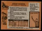 1975 Topps #19  Steve Vickers   Back Thumbnail