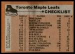 1975 Topps #91   Maple Leafs Team Checklist Back Thumbnail