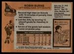 1975 Topps #104  Robin Burns   Back Thumbnail