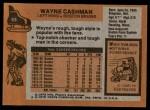 1975 Topps #63  Wayne Cashman   Back Thumbnail