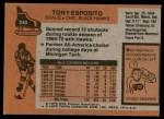 1975 Topps #240  Tony Esposito   Back Thumbnail