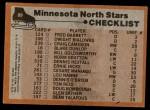 1975 Topps #89   North Stars Team Checklist Back Thumbnail