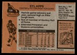 1975 Topps #130  Syl Apps   Back Thumbnail