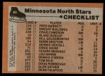 1975 Topps #89   North Stars Team Checklist Back Thumbnail