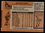1975 Topps #222  Glen Sather   Back Thumbnail