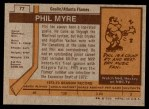 1973 Topps #77  Phil Myre   Back Thumbnail