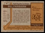 1973 Topps #41  Bill Fairbairn   Back Thumbnail
