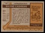 1973 Topps #166  Wayne Cashman   Back Thumbnail