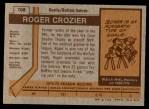 1973 Topps #108  Roger Crozier   Back Thumbnail