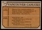 1973 Topps #107   Canucks Team Back Thumbnail