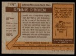 1973 Topps #177  Dennis O'Brien   Back Thumbnail