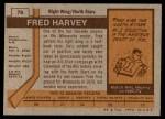 1973 Topps #78  Fred Harvey   Back Thumbnail