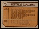 1973 Topps #100   Canadiens Team Back Thumbnail