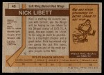 1973 Topps #49  Nick Libett   Back Thumbnail