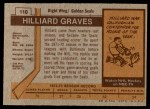 1973 Topps #110  Hilliard Graves   Back Thumbnail