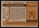 1973 Topps #86  Jim Schoenfeld   Back Thumbnail