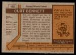 1973 Topps #152  Curt Bennett   Back Thumbnail