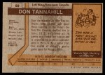 1973 Topps #69  Don Tannahill   Back Thumbnail