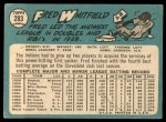 1965 Topps #283  Fred Whitfield  Back Thumbnail